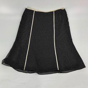 Ann Taylor A-Line Silk Black Polka Dot Skirt